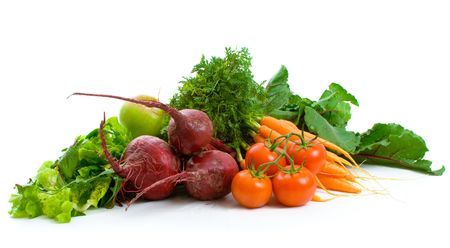 Fresh Beetroot, carrots, tomatoes, lettuce isolated over white background.