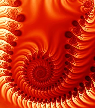 Intricate fractal image of swirl fronds in orange tones.
