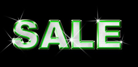 Green Metallic and Diamond graphic of the word Sale over black background Stock Photo