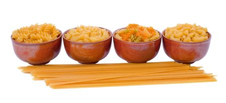 Selection of pasta isolated over white background photo