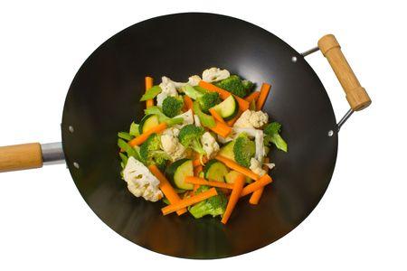 Fresh sliced vegetables in wok over white background.
