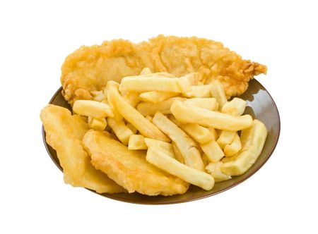 Fish, chips and potato cakes isolated over white backgorund