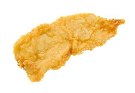 Battuto filetto di pesce isolato su sfondo bianco. Archivio Fotografico