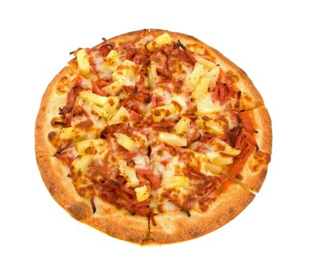 Whole Ham and Pineapple Pizza over white background