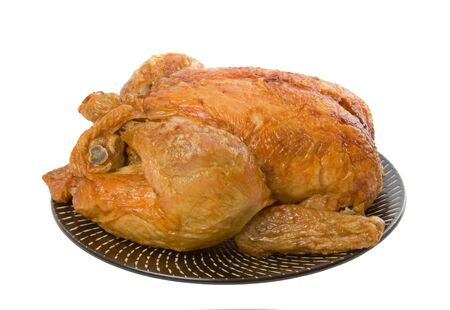 Roast Chicken on plate isolated over white background Stock Photo - 4906372