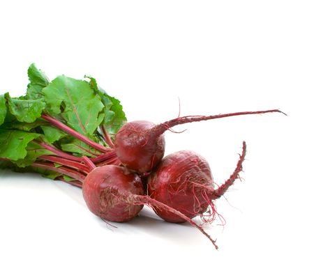 over grown: Three home grown beetroot with leaves isolated over white background Stock Photo