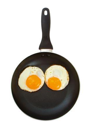 Due uova in una padella su sfondo bianco suggerendo gli occhi su un viso