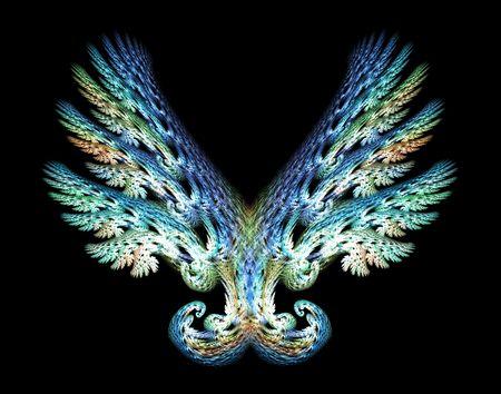 Blue Angel ali verde frattale emblema su sfondo nero. Archivio Fotografico