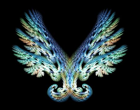 Blue Green Angel wings fractal emblem over black background.