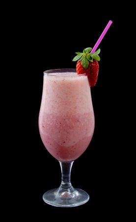Delicious Strawberry Smoothie isolated over black background with Strawberry garnish Stock Photo