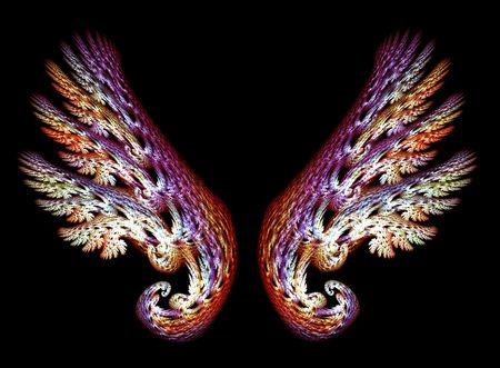 ali angelo: Due Angel Wings in porpora e oro su sfondo nero toni