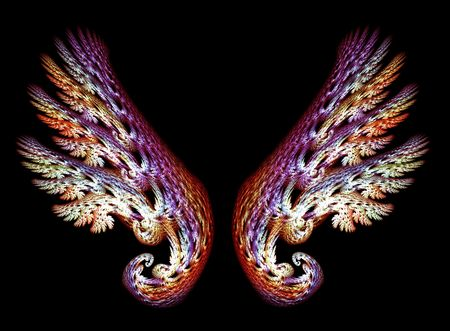 Two Angel Wings in purple and gold tones over black background Stock Photo