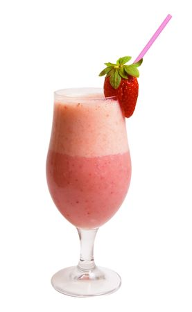 Delicious Strawberry Smoothie isolated over white background. Stock Photo - 5192438