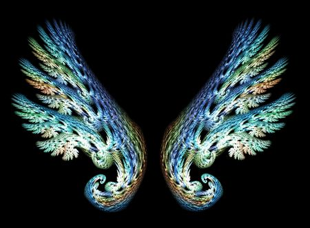 Two Angel Wings in blue and green tones over black background Stock Photo