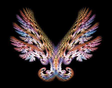 Angel wings fractal emblem over black background. Stock Photo
