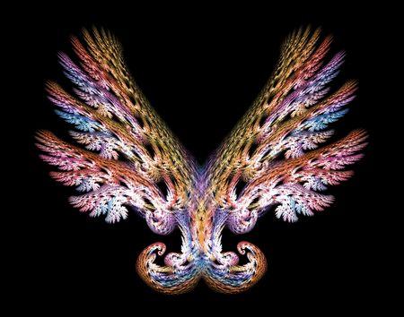angel white: Angel wings fractal emblem over black background. Stock Photo