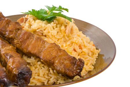 Fried Rice and Honey Soy Chicken Sticks. Stock Photo - 5260252