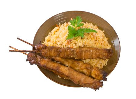 Fried Rice and Honey Soy Chicken Sticks. Stock Photo - 5286973