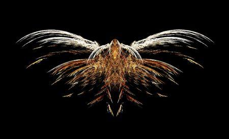Abstract fractale vulture of vogel roof vliegen op een zwarte achtergrond Stockfoto