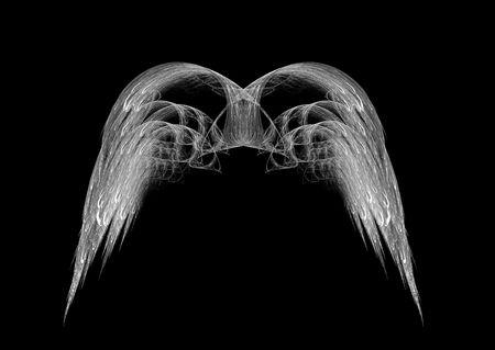 Monochrome black and white angel wings fractal emblem over black background.