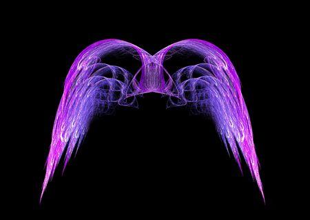 black angel: Pink and Purple Angel wings fractal emblem over black background.