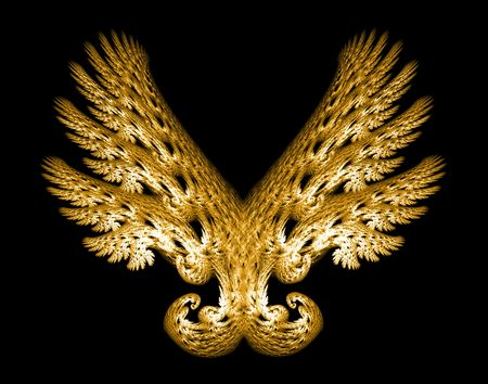 Golden Angel wings fractal emblem over black background.
