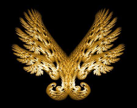 Golden Angel wings frattale emblema su sfondo nero.
