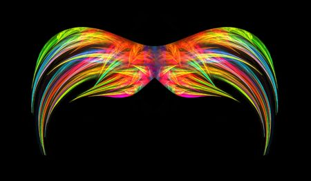Vibrant multi colored abstact fractal wings isolated over black background.