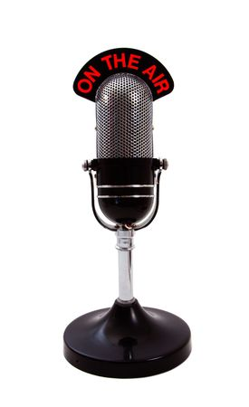 memorabilia: Vintage retro On the Air Microphone isolated over white background.