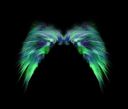 Soft feathery green and blue angel wings isolated over black background.