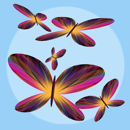 fluttering: Beautiful abstract butterflies fluttering across the image.