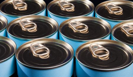 food storage: Close up of many ring pull cans Stock Photo