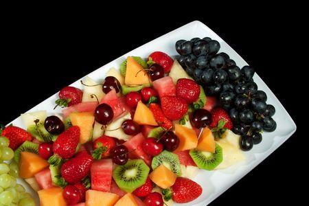 charolas: Selección de plato de deliciosa fruta fresca