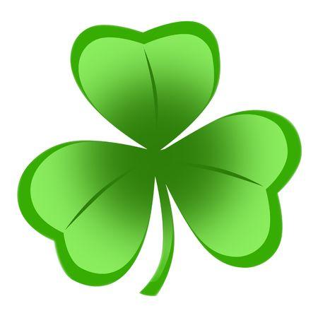 Trifoglio irlandese, ideale per il giorno di San Patrizio di isolati su sfondo bianco