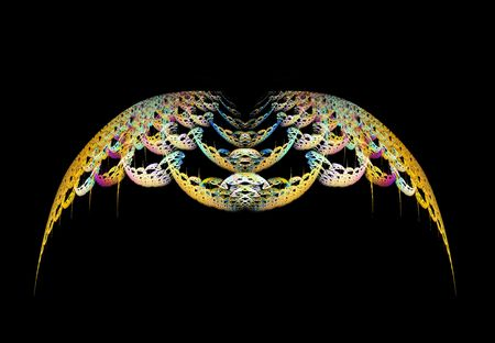 Abstract golden wings over black background.