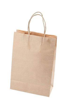 Brown paper carrier bag isolated over white background photo