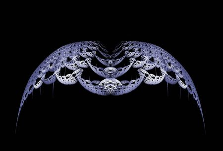 Gothic style grey abstract wings over black background.