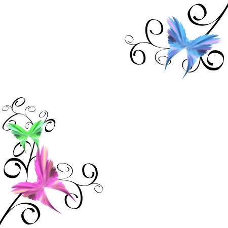 Delicate butterflies with black swirls over white background Stock Photo