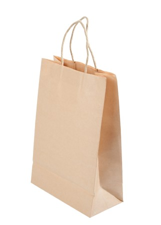 Brown paper carrier bag isolated over white background Stock Photo