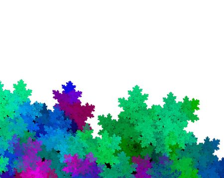 Leafy green, blue and purple foliage over white background  with copy space for text