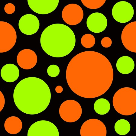 Orange and Yellow Polka Dots on Black Background which will tile seamlessly. photo