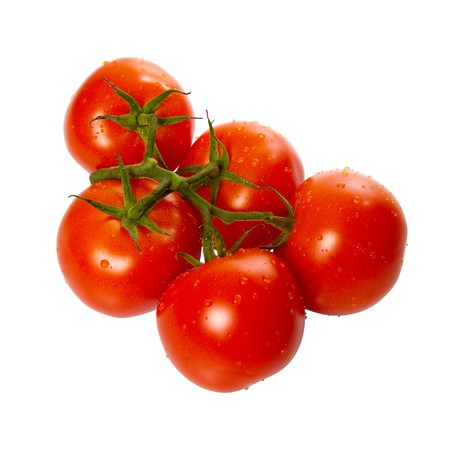 Ripe Trusse Tomatoes isolated over white background