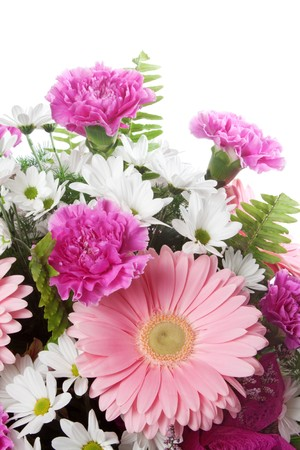 Pink and White Flower arrangement over white background.