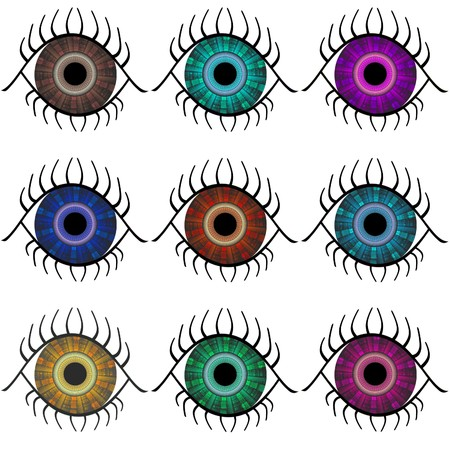 Selection of abstract eyes in nine different colors isolated over white background.