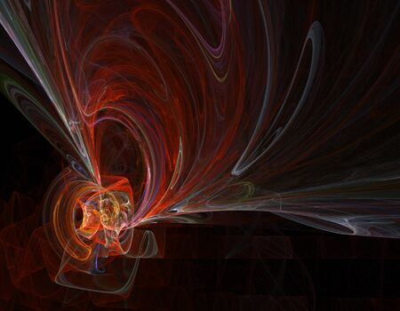 A riot of red smoky swirls flow across a black background. Stock Photo