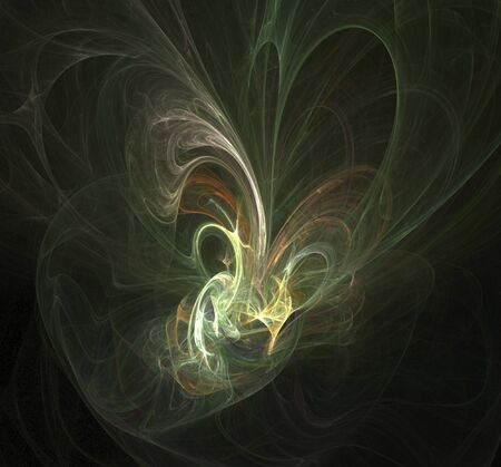 Delicate abstract smoke swirls over black background.