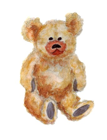 Watercolor artwork of a cute fluffy teddy bear over white background