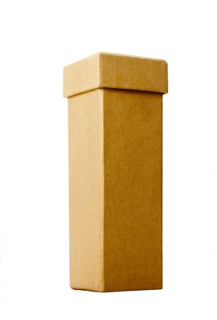 Tall narrow cardboard box with lid isolated over white background