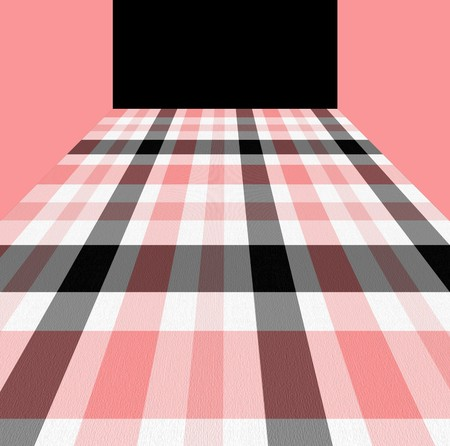 Seamless background in pink, white and black checkered pattern with texture.