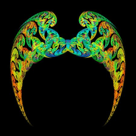 Bright and colorful angel wings with vibrant paisley design over black background